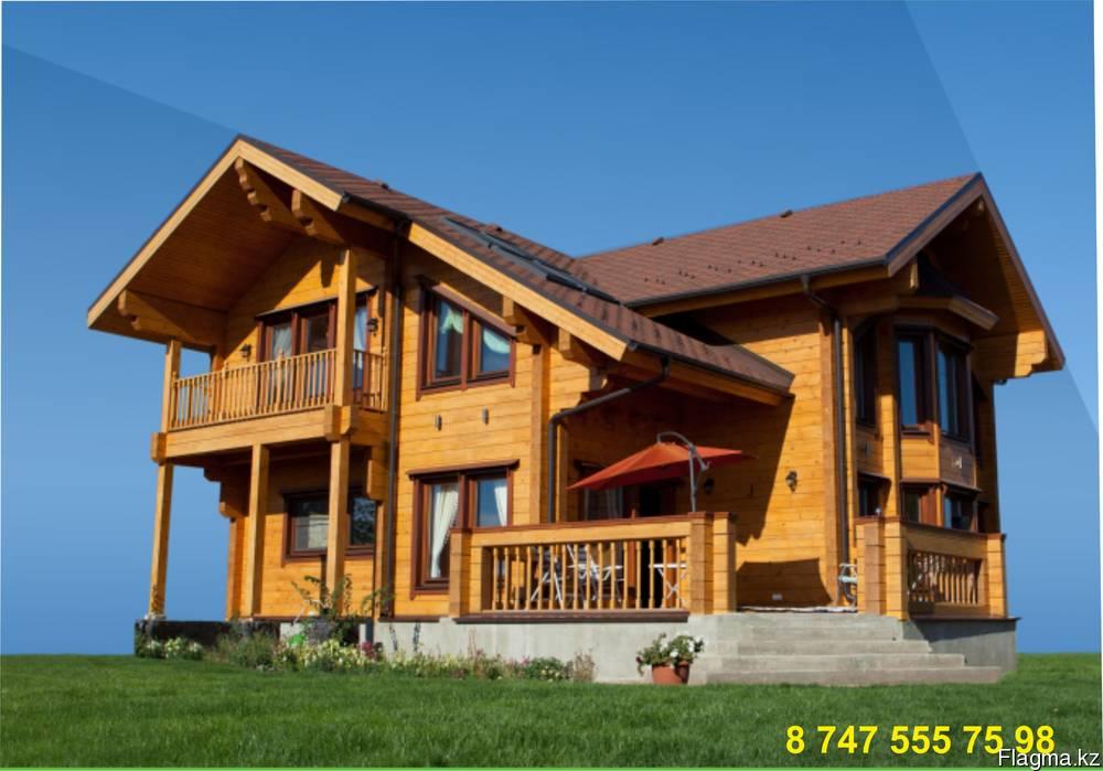 Строительства деревянных домов, срубов, бань и дач из клеено